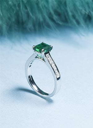 Emerald and Diamond Thiessen Ring