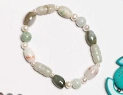 Vintage jade  and natural pearl Maya Bracelet