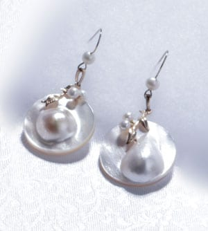 Moonburst Earrings from Hawaii in lustrous mabe pearls and 14ct gold