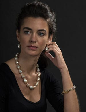 Natural beauty: Baroque Pearl and Gold 'Manon Necklace': only £327