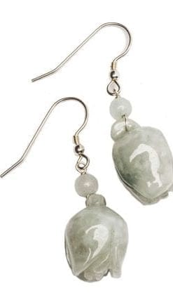 Unique and beautiful Burmese jade and silver Myanmar Rosebud earrings
