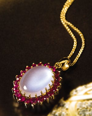 Fabulous ruby and moonstone 18ct gold pendant