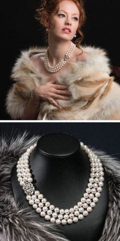 Stunningly beautiful new pearl, diamond and gold necklace: 'Norma', from the Opera Collection