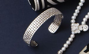 Superb woven sterling silver and diamond bangle from the fabulous Natte Collection