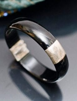 Dramatic black onyx and sterling silver Park Avenue Bangle, £53