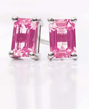 Emerald cut Pink Sapphire Earrings, 1.20 carats, set on 18ct Gold