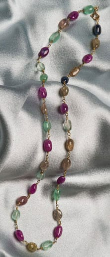 Paris Necklace in rubies, emeralds, sapphires and gold: Matinee length (22in)