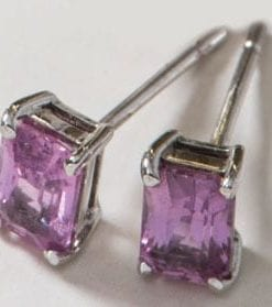 The 'Pink Gin' Pink Sapphire and 18ct white gold earrings from Hatton Garden, only £857