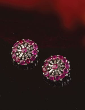 New Hatton Garden Collection: Large Burmese ruby, diamond and 18ct gold earrings