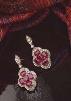 New Hatton Garden Collection: Precious Burmese ruby, diamond and 18ct white gold earrings
