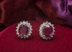 Classic 1.62 carat Burmese ruby and diamond cluster earrings set in 18ct white gold