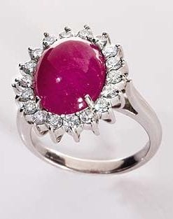 Exceptional Large Ruby and Diamond Helena Ring from Hatton Garden