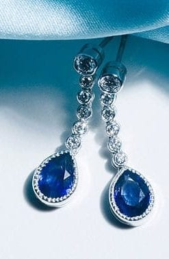 Fabulous blue Ceylon sapphire and diamond teardrop earrings from Hatton Garden