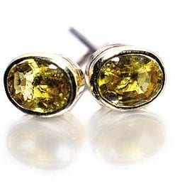 Yellow Sapphire Earrings set on 18ct Gold