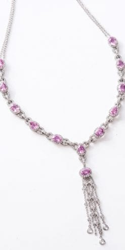 Fine natural Ceylon pink sapphire and diamond necklace: nearly 14 carats
