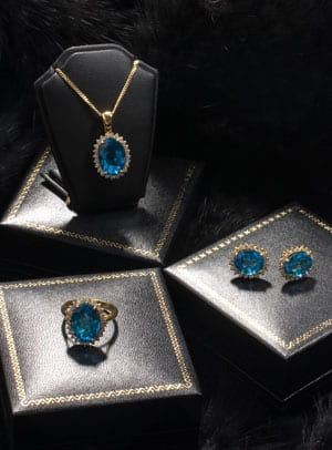 New Hatton Garden Collection: Top quality Blue Topaz and Diamond Earring and Pendant Set in 18ct white gold