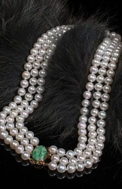 Elegant three-strand pearl and carved vintage Burmese jade necklace