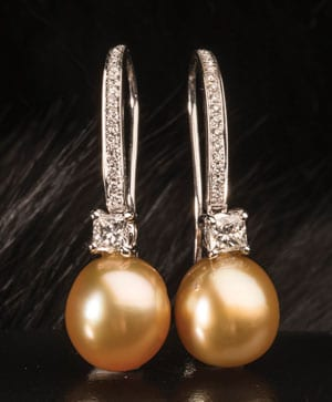 Precious natural gold pearl, diamond and 14ct white gold earrings from the South Seas