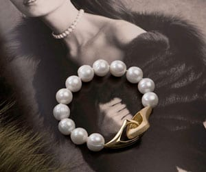 Sensational new Couture Bracelet in large 14-15mm natural cirque pearls and gold