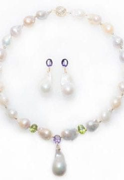 La Gioconda Baroque Pearl, Diamond, Amethyst, Peridot and 14ct Gold Necklace