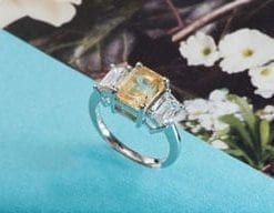 Fabulous new yellow sapphire, diamond and platinum ring from Hatton Garden