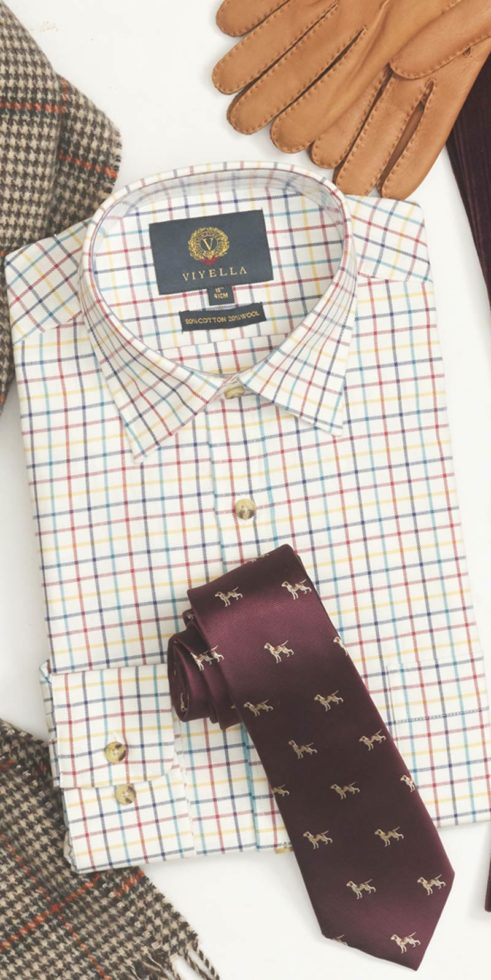 Viyella Medium Tattersall Check 80 20 Cotton Merino Wool Shirt Countryclubuk